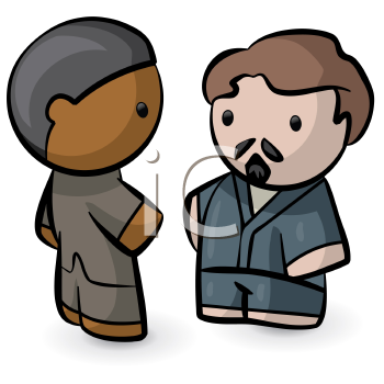 Royalty Free Clipart Image of Two People Meeting