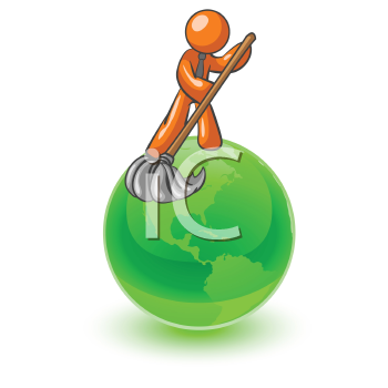 An orange man on top of the earth cleaning it up.