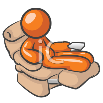 Royalty Free Clipart Image of an Orange man sitting at a chair with a remote control.