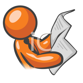 An orange man reading the news and getting up on current events.