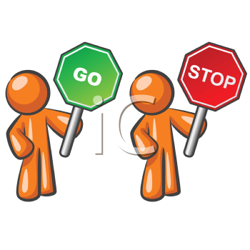 Two orange men holding Stop and Go signs.