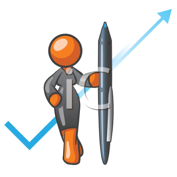An orange woman holding a pen with a check mark behind her, a possible concept in accounting or planning.