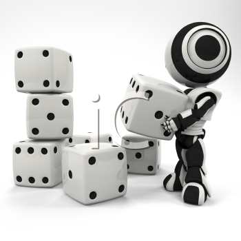 A robot stacking some rather large dice.