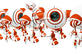 A small robot standing in line, waving hi, and standing out from his position.
