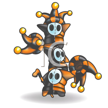 Royalty Free Clipart Image of Odd Creatures in Jester Hats Doing Stunts