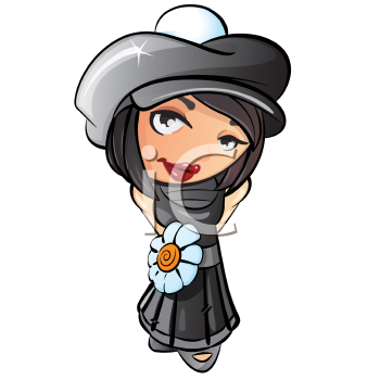 Royalty Free Clipart Image of a Girl in Grey