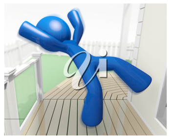 Royalty Free Clipart Image of a Blue Man Falling on a Front Porch