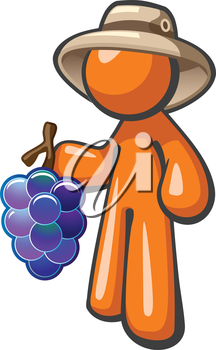 Royalty Free Clipart Image of a Person in a Hat Holding Grapes