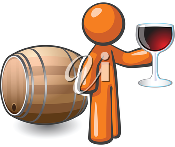Royalty Free Clipart Image of a Man Holding a Wineglass Beside a Barrel