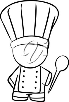 Line drawing of a Cook with a wooden spoon
