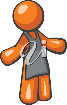 Orange person barista or waiter standing in an inviting pose. He is wearing an apron.