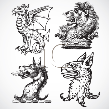 Royalty Free Clipart Image of a Set of Beast Heads