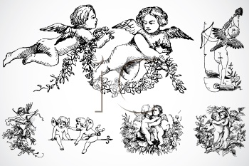 Royalty Free Clipart Image of Cupid Ornaments
