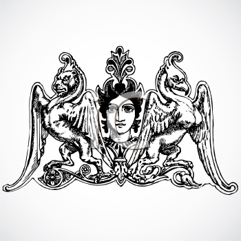 Royalty Free Clipart Image of an Ornament With a Woman and Animals