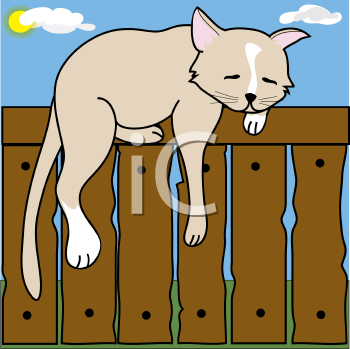 Royalty Free Clipart Image of a Cat Sleeping on a Fence