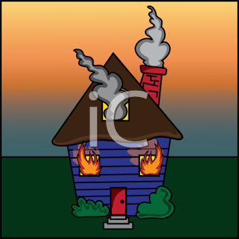 Royalty Free Clipart Image of a House on Fire