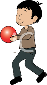 Royalty Free Clipart Image of a Boy Holding a Ball