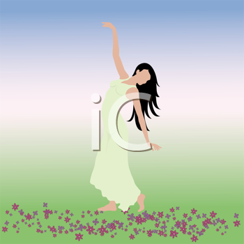 Royalty Free Clipart Image of a Woman Dancing Outside