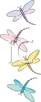 Royalty Free Clipart Image of Dragonflies Flying