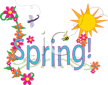 Royalty Free Clipart Image of a Spring Sign