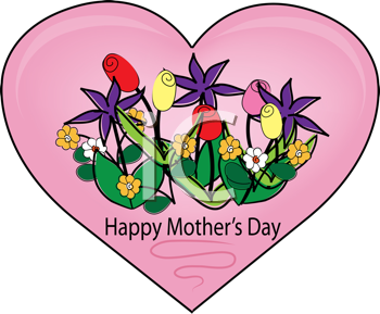 Royalty Free Clipart Image of a Mother's Day Heart