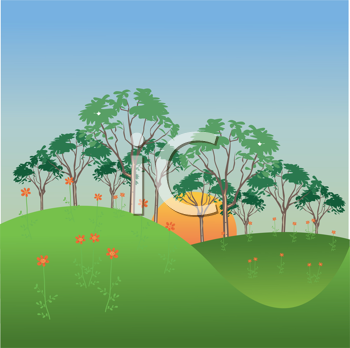Royalty Free Clipart Image of a Tree-Lined Landscape Background