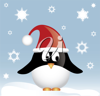 Clip art illustration of a cartoon Christmas penguin standing in the snow.