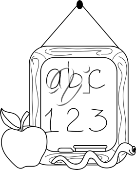 Clip art illustration of a coloring page of a little chalkboard hanging on a string with an apple for teacher and abc and 123 written on it.
