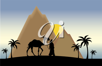 Clip art illustration of the silhouette of a man walking a camel through the desert.