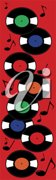 Clip art illustration of a musical page banner of old fashioned vinyl records and music notes.