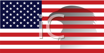 Royalty Free Clipart Image of an American Flag With an Eagle Shadow