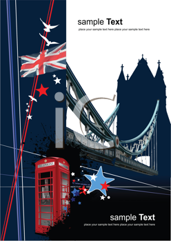 Royalty Free Clipart Image of London Bridge and the Union Jack