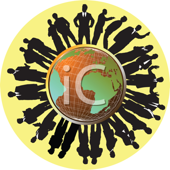 Royalty Free Clipart Image of People Around a Globe