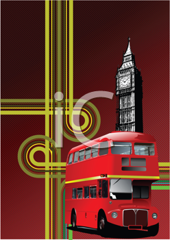 Royalty Free Clipart Image of a Double Decker Bus and Big Ben