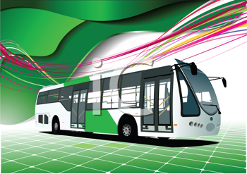 Royalty Free Clipart Image of a Bus on a Green Tile and Wave Background