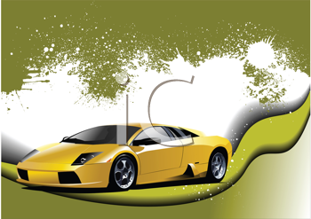 Royalty Free Clipart Image of a Sporty Yellow Car