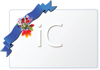 Royalty Free Clipart Image of an Invitation With a Blue Ribbon With Flowers