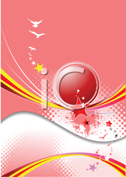 Royalty Free Clipart Image of a Pink Background With a Big Ball in the Centre