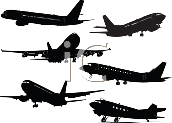 Royalty Free Clipart Image of Six Airplanes