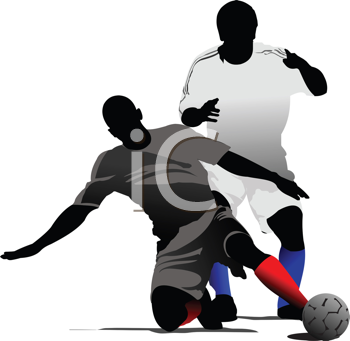 Royalty Free Clipart Image of Soccer Players