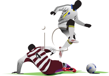 Royalty Free Clipart Image of Soccer Players, One Down, One Jumping