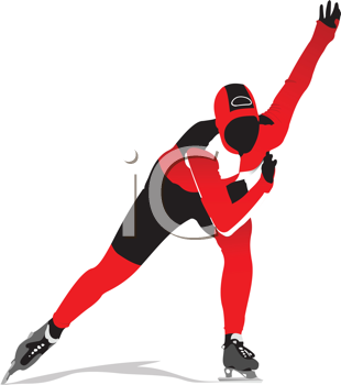 Royalty Free Clipart Image of a Speed Skater