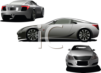 Royalty Free Clipart Image of Three Cars