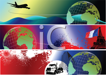 Royalty Free Clipart Image of Three Travel Banners
