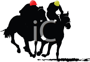 Royalty Free Clipart Image of a Horse Race with Riders in Yellow and Red Hats