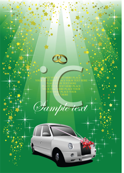 Royalty Free Clipart Image of a Car Under Wedding Bands