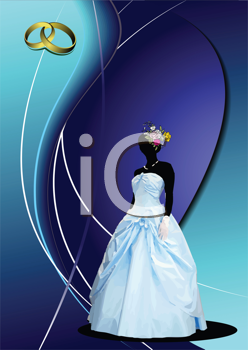 Royalty Free Clipart Image of a Woman in a Wedding Gown and Rings in the Top Corner