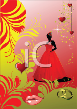 Royalty Free Clipart Image of a Bridesmaid With Hearts in the Corner, a Mouth and Rings at the Bottom