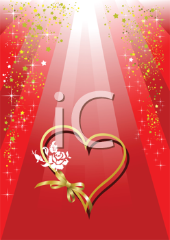 Royalty Free Clipart Image of a Gold Heart With a Rose on a Red Background