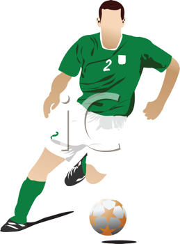 Royalty Free Clipart Image of a Soccer Player in Green